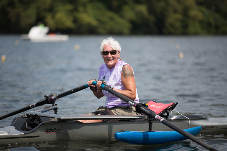 female rower on the river