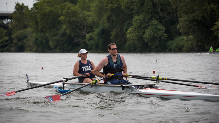 a male and female rower duo