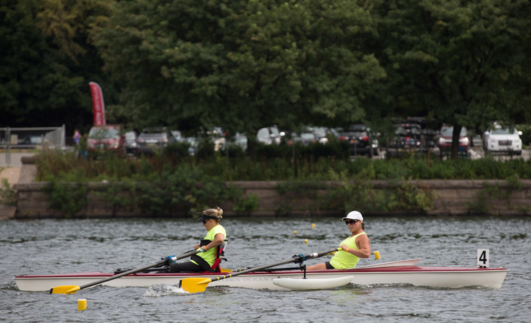two female rowers in action